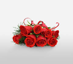 8 red roses bouquet