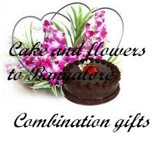 orchids basket with cake