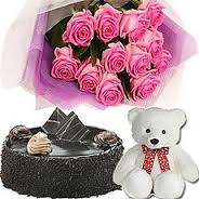 12 pink roses with 1/2 kg cake and teddy