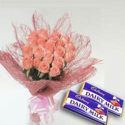 12 Roses Bouquet And 2 Chocolate Bars