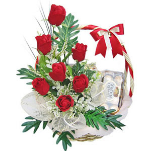 6 red roses, 16 Chocolates basket